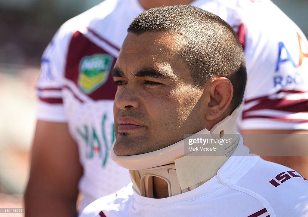 Richie Fa'aoso wears a neck brace during the Manly Sea Eagles NRL Grand Final media day at Brookvale Oval on September 30, 2013 in Sydney, Australia.