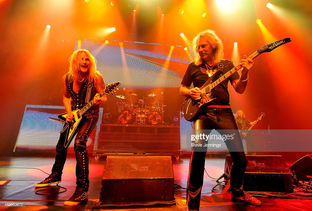 Richie Faulkner and Glenn Tipton of Judas Priest perform at The Warfield Theater on October 20, 2015 in San Francisco, California.