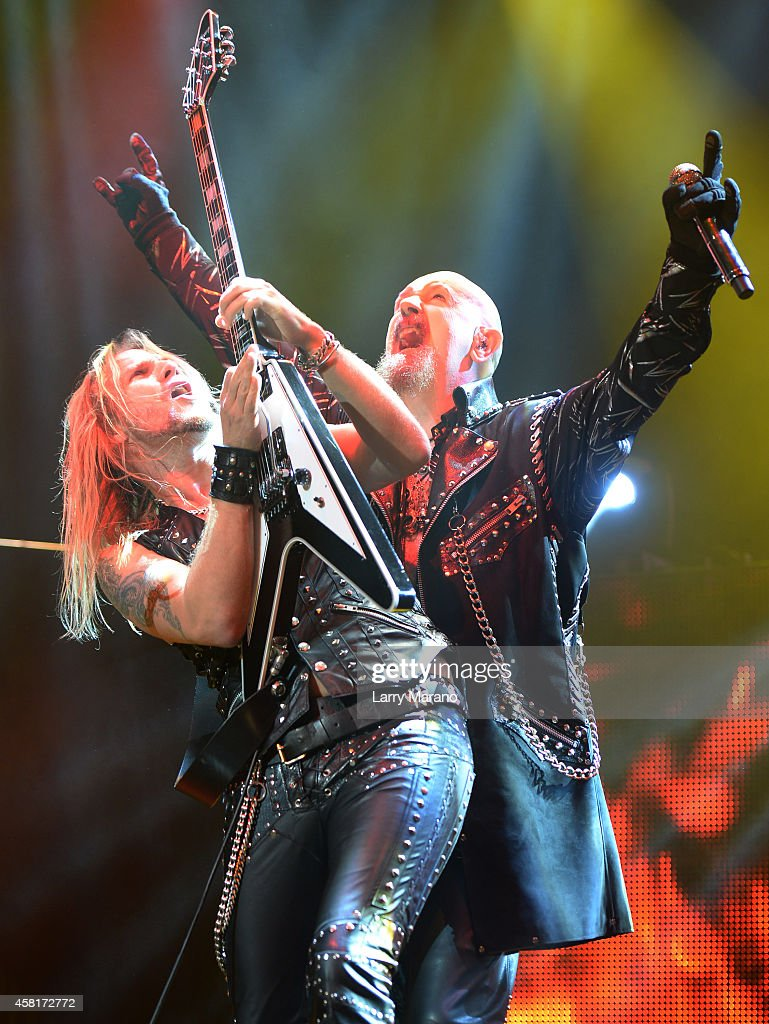 Richie Faulkner and Rob Halford of judas Priest perform at Hard Rock Live! in the Seminole Hard Rock Hotel & Casino on October 30, 2014 in Hollywood, Florida.