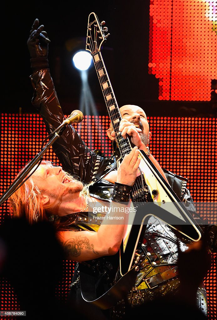 Richie Faulkner and Rob Halford of Judas Priest perform at the Nokia Theatre L.A. Live at Nokia Theatre L.A. Live on November 10, 2014 in Los Angeles, California.