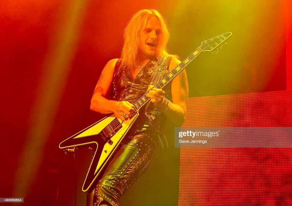 Richie Faulkner of Judas Priest performs at The Warfield Theater on October 20, 2015 in San Francisco, California.
