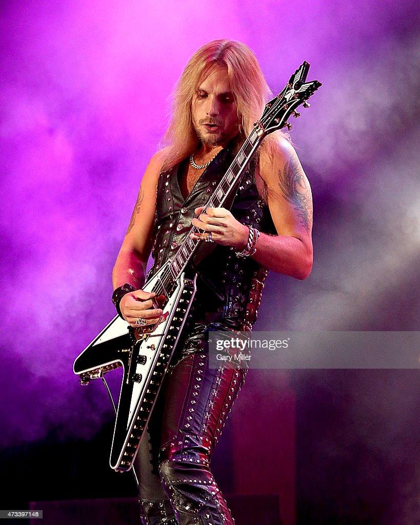 Richie Faulkner of Judas Priest performs in concert at the Cedar Park Center on May 14, 2015 in Cedar Park, Texas.