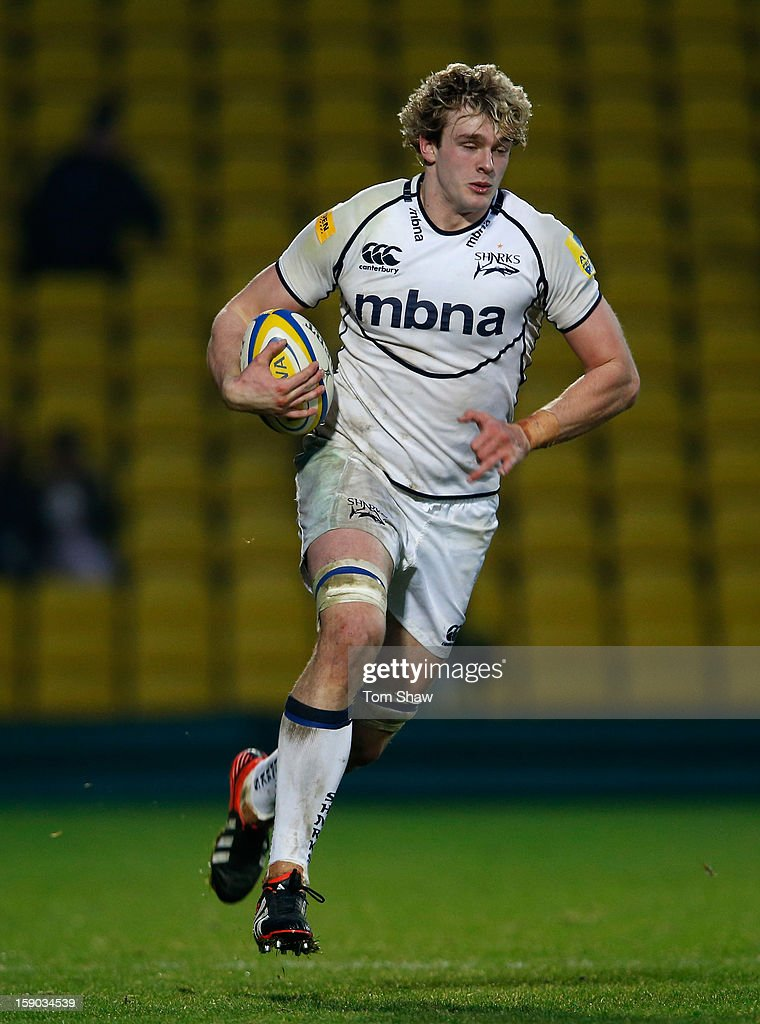 <a gi-track='captionPersonalityLinkClicked' href=/galleries/search?phrase=Richie+Gray+-+Rugby+Player&family=editorial&specificpeople=5907993 ng-click='$event.stopPropagation()'>Richie Gray</a> of Sale in action during the Aviva Premiership match between Saracens and Sale Sharks at Vicarage Road on January 6, 2013 in Watford, England.