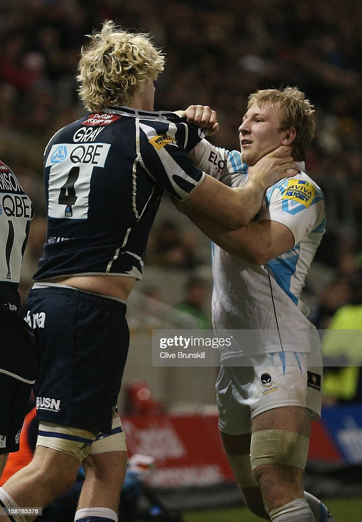 Richie Gray of Sale Sharks fights with Matt Kvesic of Worcester Warriors during the Aviva Premiership match between Sale Sharks and Worcester Warriors at Salford City Stadium on December 28, 2012 in Salford, England.