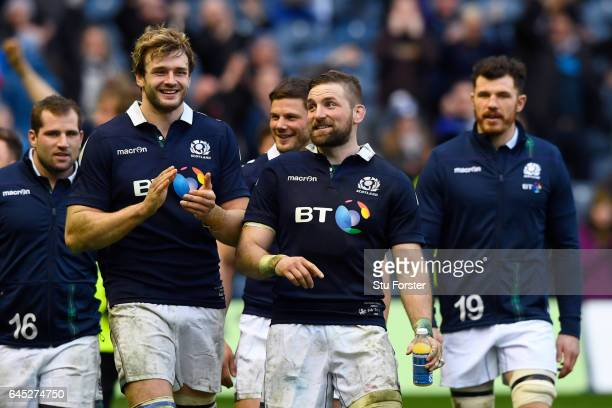 Richie Gray of Scotland and John Barclay of Scotland celebrate following their team's 2913 victory during the RBS Six Nations match between Scotland...