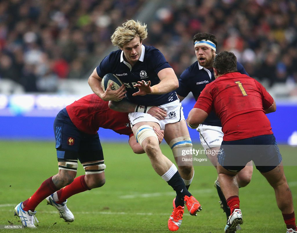 <a gi-track='captionPersonalityLinkClicked' href=/galleries/search?phrase=Richie+Gray+-+Rugby+Player&family=editorial&specificpeople=5907993 ng-click='$event.stopPropagation()'>Richie Gray</a> of Scotland charges upfield during the RBS Six Nations match between France and Scotland at Stade de France on February 7, 2015 in Paris, France.
