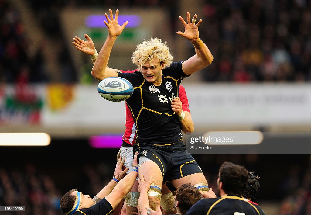 <a gi-track='captionPersonalityLinkClicked' href=/galleries/search?phrase=Richie+Gray+-+Rugby+Player&family=editorial&specificpeople=5907993 ng-click='$event.stopPropagation()'>Richie Gray</a> of Scotland goes up for the line-out ball during the RBS Six Nations match between Scotland and Wales at Murrayfield Stadium on March 9, 2013 in Edinburgh, Scotland.