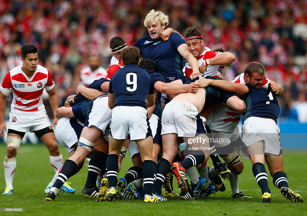 <a gi-track='captionPersonalityLinkClicked' href=/galleries/search?phrase=Richie+Gray+-+Rugby+Player&family=editorial&specificpeople=5907993 ng-click='$event.stopPropagation()'>Richie Gray</a> of Scotland is lifted up in a maul during the 2015 Rugby World Cup Pool B match between Scotland and Japan at Kingsholm Stadium on September 23, 2015 in Gloucester, United Kingdom.