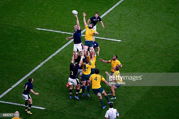 Richie Gray of Scotland jumps for a lineout ball with Scott Fardy of Australia during the 2015 Rugby World Cup Quarter Final match between Australia...