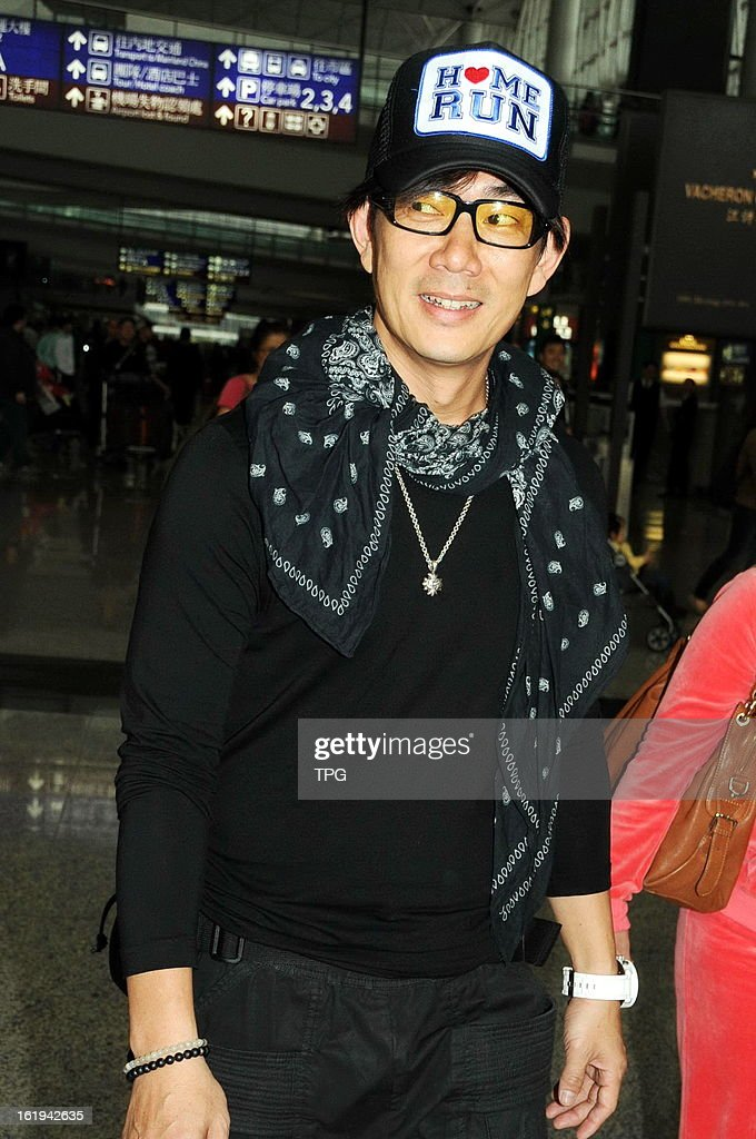 Richie Jen arrived at the airport on Sunday February 17, 2013 in Hong Kong, China.