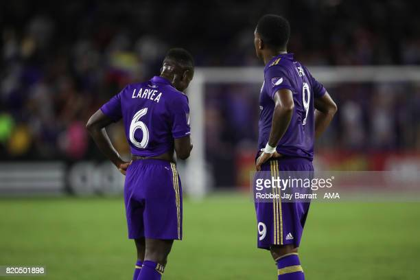 Richie Laryea of Orlando City and Cyle Larin of Orlando City dejected at full time during the MLS match between Atlanta United and Orlando City at...
