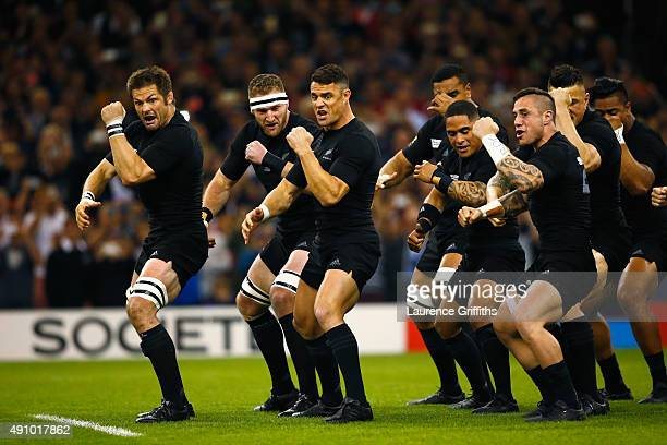 Richie McCaw and Dan Carter of the New Zealand All Blacks perform The Haka during the 2015 Rugby World Cup Pool C match between New Zealand and...
