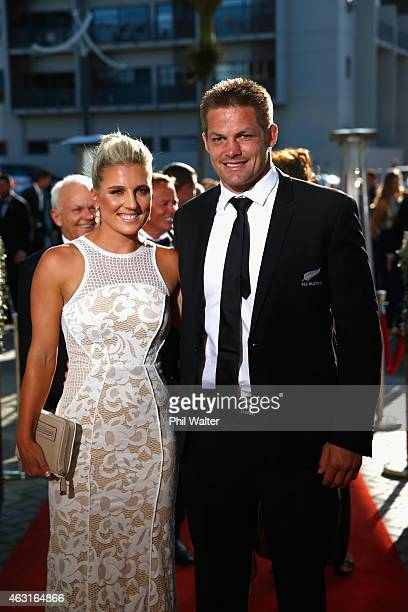 Richie McCaw and Gemma Flynn arrive for the 2015 Halberg Awards at Vector Arena on February 11 2015 in Auckland New Zealand