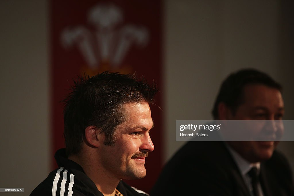 Richie McCaw and head coach Steve Hansen of the All Blacks speak during the press conference following the international match between Wales and New Zealand at Millennium Stadium on November 24, 2012 in Cardiff, Wales.