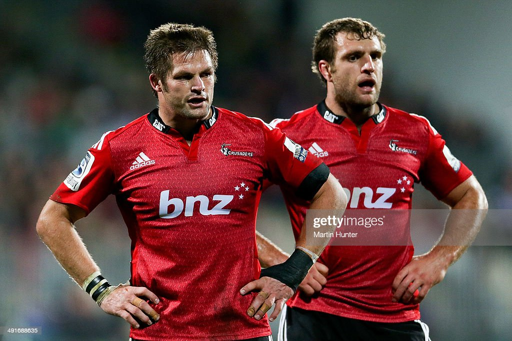 <a gi-track='captionPersonalityLinkClicked' href=/galleries/search?phrase=Richie+McCaw&family=editorial&specificpeople=165235 ng-click='$event.stopPropagation()'>Richie McCaw</a> (L) and <a gi-track='captionPersonalityLinkClicked' href=/galleries/search?phrase=Luke+Whitelock&family=editorial&specificpeople=7045783 ng-click='$event.stopPropagation()'>Luke Whitelock</a> (R) react after the round 14 Super Rugby match between the Crusaders and the Sharks at AMI Stadium on May 17, 2014 in Christchurch, New Zealand.