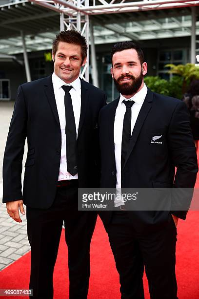 Richie McCaw and Ryan Crotty pose on the red carpet ahead of the Westpac Halberg Awards at Vector Arena on February 13 2014 in Auckland New Zealand
