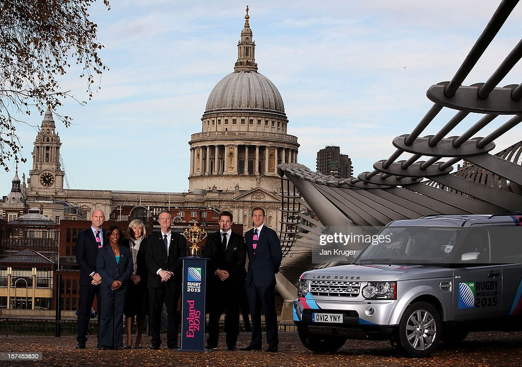 Richie McCaw, Captain of Rugby World Cup Winners New Zealand, poses with England Rugby 2015 ambassadors Lawrence Dallaglio, Maggie Alphonsi and Will Greenwood, Chairman of the International Rugby Board Bernard Lapasset and England Rugby 2015 Organising Body CEO Debbie Jevans and a RWC 2015 branded Land Rover Discovery during a Land Rover photo call ahead of the Pool Allocation Draw on December 3, 2012 in London, England