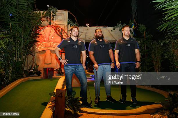 Richie McCaw Charlie Faumuina and Sam Cane of the All Blacks play Mini Golf courtesy of sponsor AIG at Treetop Adventure Golf on October 1 2015 in...
