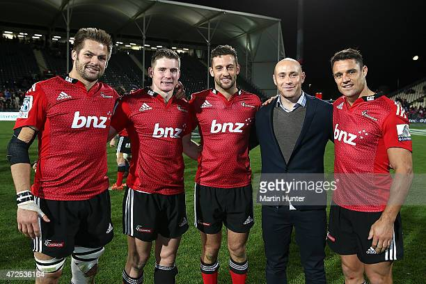 Richie McCaw Colin Slade Tom Taylor Willie Heinz and Dan Carter of the Crusaders pose after the round 13 Super Rugby match between the Crusaders and...