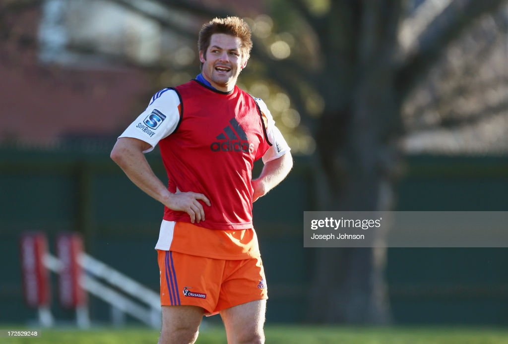 Richie McCaw looks on during a Crusaders Super Rugby training session at Rugby Park on July 3, 2013 in Christchurch, New Zealand.