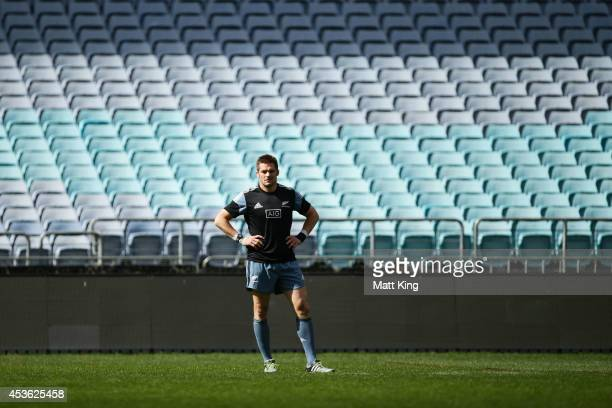 Richie McCaw looks on during a New Zealand All Blacks Captain's Run at ANZ Stadium on August 15 2014 in Sydney Australia