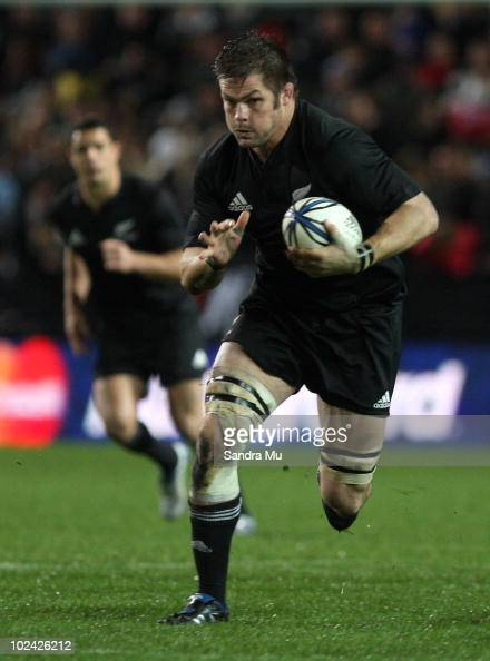 Richie McCaw of New Zealand in action during the test match between the New Zealand All Blacks and Wales at Waikato Stadium on June 26 2010 in...