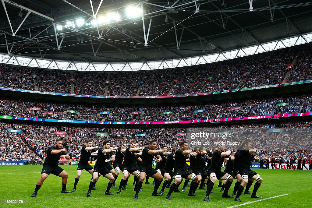 Richie McCaw of New Zealand leads the Haka prior to kickoff during the 2015 Rugby World Cup Pool C match between New Zealand and Argentina at Wembley Stadium on September 20, 2015 in London, United Kingdom.