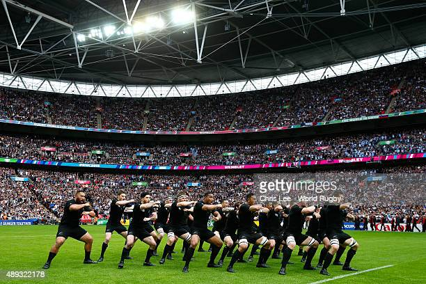 Richie McCaw of New Zealand leads the Haka prior to kickoff during the 2015 Rugby World Cup Pool C match between New Zealand and Argentina at Wembley...