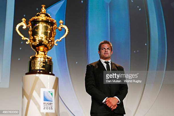 Richie McCaw of New Zealand poses next to the Webb Ellis cup during the World Rugby Awards 2015 at Battersea Evolution on November 1 2015 in London...