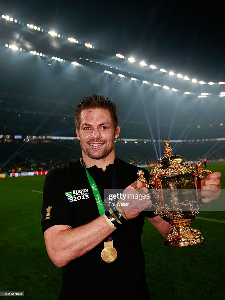 <a gi-track='captionPersonalityLinkClicked' href=/galleries/search?phrase=Richie+McCaw&family=editorial&specificpeople=165235 ng-click='$event.stopPropagation()'>Richie McCaw</a> of New Zealand poses with the Webb Ellis Cup after victory in the 2015 Rugby World Cup Final match between New Zealand and Australia at Twickenham Stadium on October 31, 2015 in London, United Kingdom.