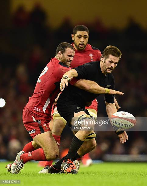 Richie McCaw of New Zealand wins the ball from Jamie Roberts during the International match between Wales and New Zealand All Blacks at Millennium...