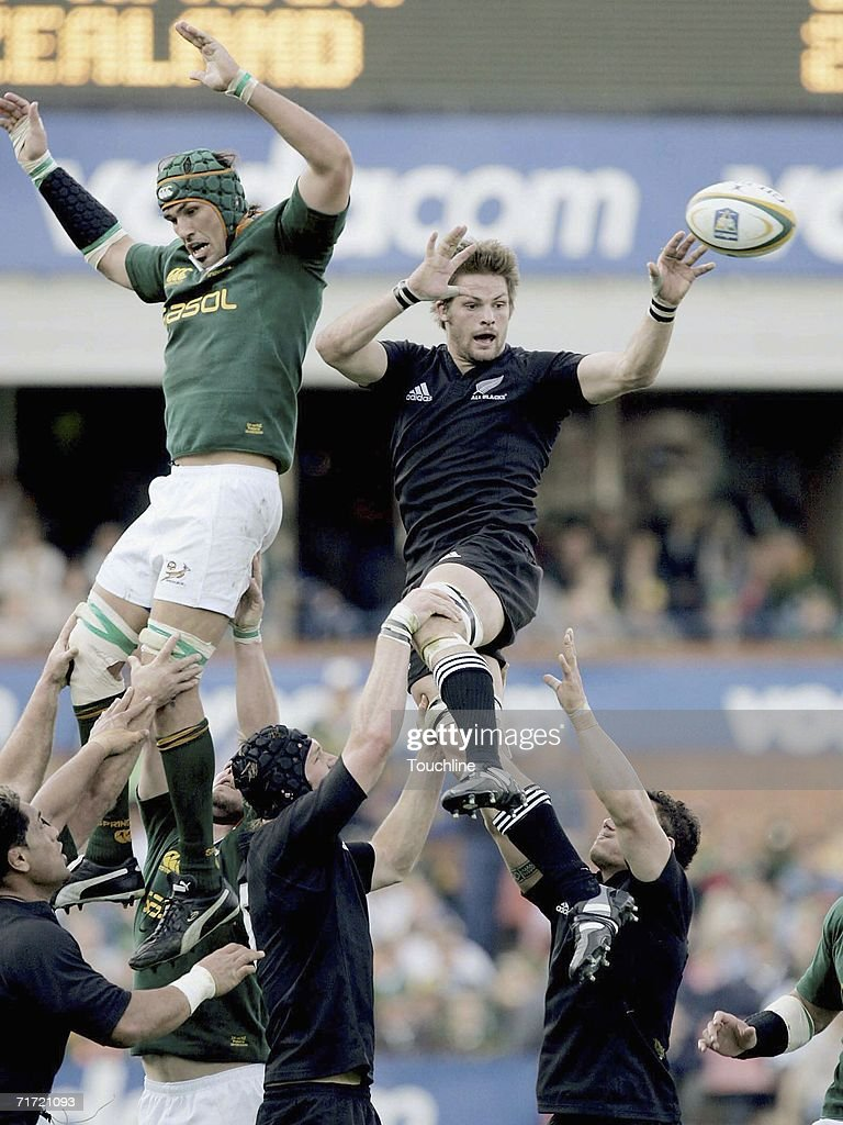 Richie McCaw of New Zealand wins the lineout during the TriNations rugby international on Audust 26 between the New Zealand All Blacks and the South...
