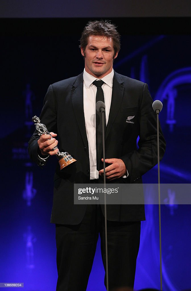 <a gi-track='captionPersonalityLinkClicked' href=/galleries/search?phrase=Richie+McCaw&family=editorial&specificpeople=165235 ng-click='$event.stopPropagation()'>Richie McCaw</a> of the All Blacks accepts the award for Team of the Year during the 2012 Halberg Awards at Sky City Convention Centre on February 9, 2012 in Auckland, New Zealand.
