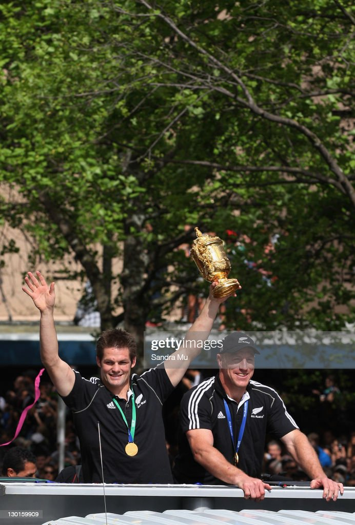 Richie McCaw of the All Blacks and Brad Thorn of the All Blacks celebrate with the Webb Ellis Cup during the New Zealand All Blacks 2011 IRB Rugby...