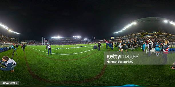 Richie McCaw of the All Blacks leads his team onto the field before The Rugby Championship Bledisloe Cup match between the New Zealand All Blacks and...