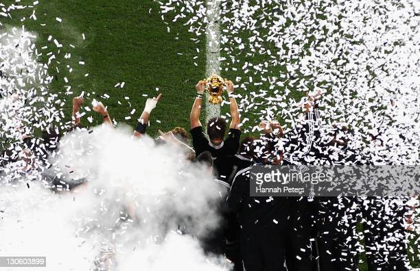 Richie McCaw of the All Blacks lifts the Webb Ellis Cup after the 2011 IRB Rugby World Cup Final match between France and New Zealand at Eden Park on...