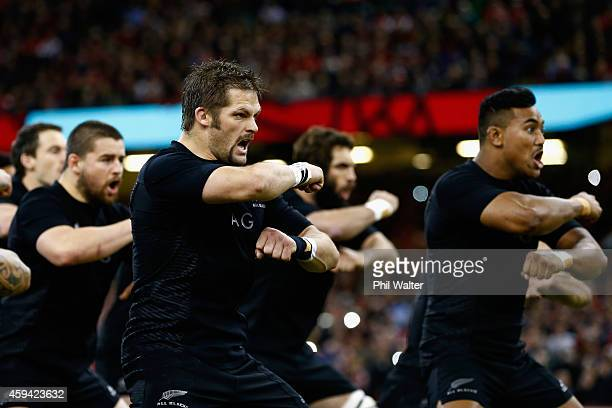 Richie McCaw of the All Blacks performs the haka before the Intenational match between Wales and the New Zealand All Blacks at the Millennium Stadium...