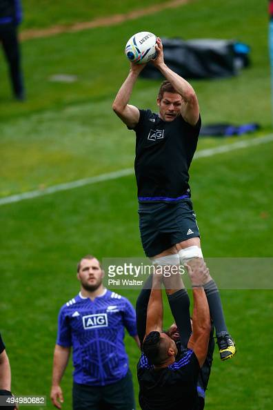 Richie McCaw of the All Blacks takes the ball in the lineout during a New Zealand All Blacks Captain's Run at Pennyhill Park on October 30 2015 in...