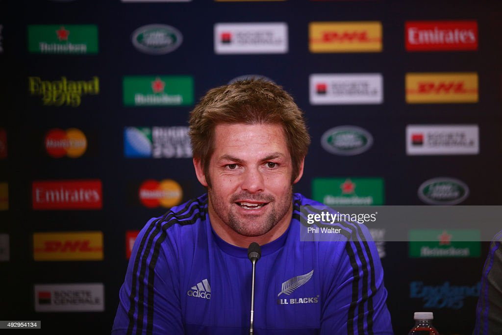 <a gi-track='captionPersonalityLinkClicked' href=/galleries/search?phrase=Richie+McCaw&family=editorial&specificpeople=165235 ng-click='$event.stopPropagation()'>Richie McCaw</a> of the All Blacks talks to the media following a New Zealand All Blacks Captain's Run at Millenium Stadium on October 16, 2015 in Cardiff, United Kingdom.