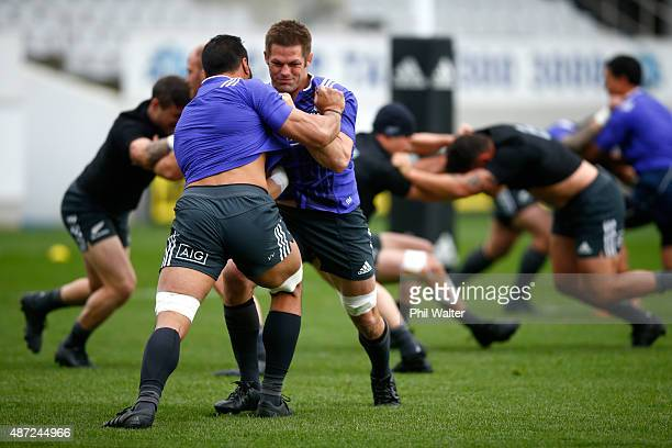 Richie McCaw of the All Blacks warms up before a New Zealand All Blacks training session at Eden Park on September 8 2015 in Auckland New Zealand