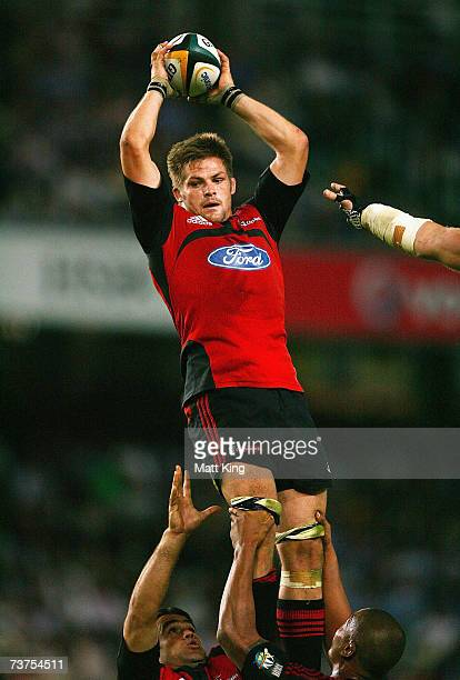 Richie McCaw of the Crusaders jumps at the lineout during the round nine Super 14 match between the Waratahs and the Crusaders at Aussie Stadium...