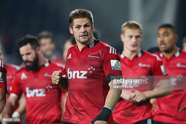 Richie McCaw of the Crusaders leaves the field during the round 16 Super Rugby match between the Crusaders and the Western Force at AMI Stadium on...