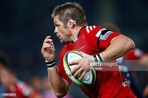 Richie McCaw of the Crusaders makes a break during the round 17 Super Rugby match between the Blues and the Crusaders at Eden Park on June 6 2015 in...