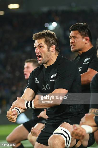 Richie McCaw of the New Zealand All Blacks during the haka before The Rugby Championship Bledisloe Cup match between the New Zealand All Blacks and...