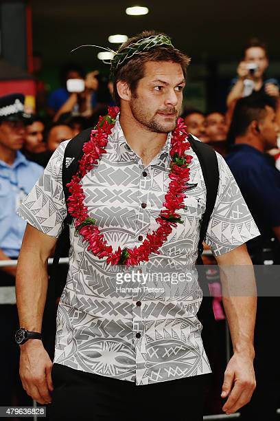 Richie McCaw of the New Zealand All Blacks is welcomed at Faleolo Airport on July 6 2015 in Apia Samoa