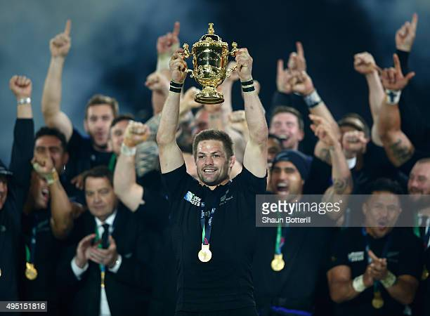 Richie McCaw of the New Zealand All Blacks lifts the Webb Ellis Cup following the victory against Australia in the2015 Rugby World Cup Final match...