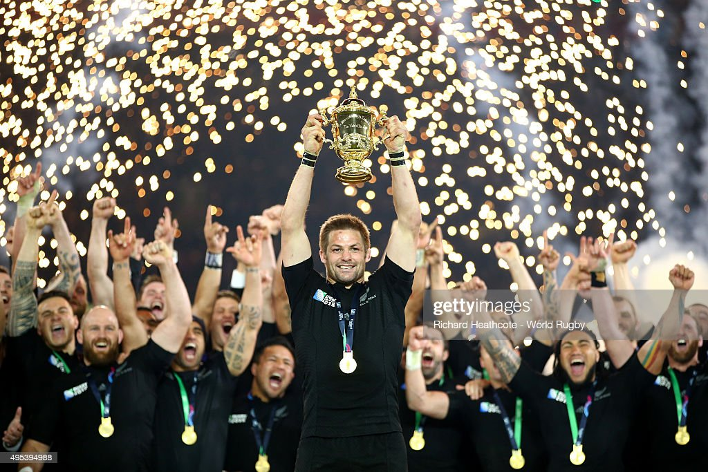 Richie McCaw of the New Zealand All Blacks lifts the Webb Ellis Cup after victory in the 2015 Rugby World Cup Final match between New Zealand and...