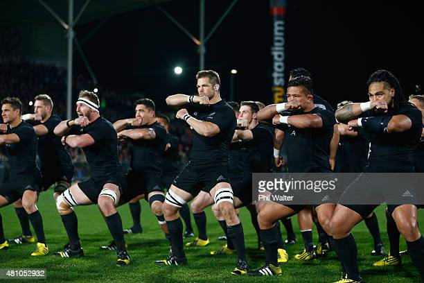Richie McCaw of the New Zealand All Blacks performs the haka before The Rugby Championship match between the New Zealand All Blacks and Argentina at...
