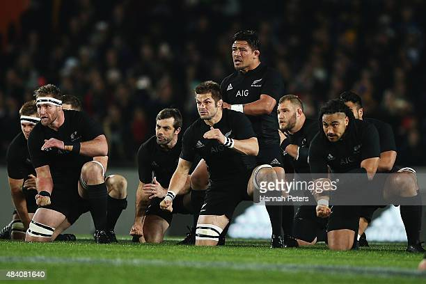Richie McCaw of the New Zealand All Blacks performs the haka prior to The Rugby Championship Bledisloe Cup match between the New Zealand All Blacks...