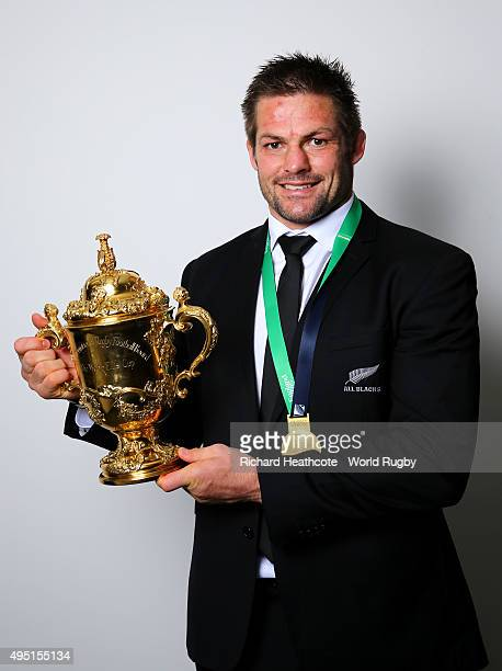 Richie McCaw of the New Zealand All Blacks poses with the Webb Ellis Cup after the 2015 Rugby World Cup Final match between New Zealand and Australia...
